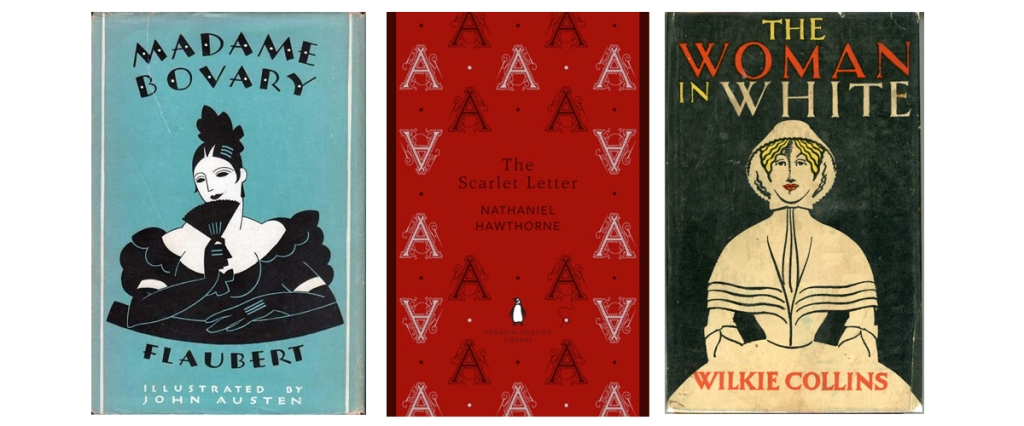 retro book covers Madame Bovary The Scarlet Letter The Woman in White